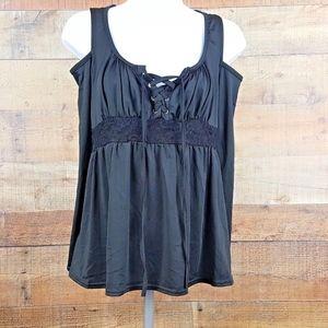 Black Open Shoulder Blouse Women's 1/4 Front Tie B